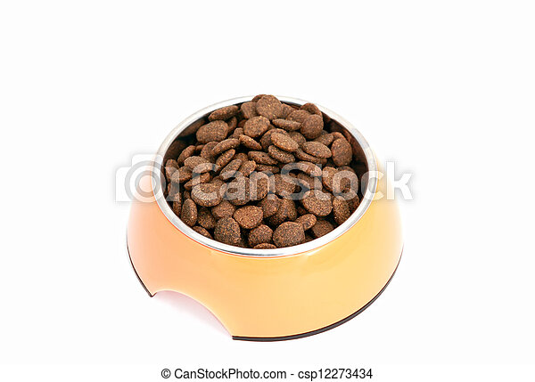 dry dog food in bowl - csp12273434