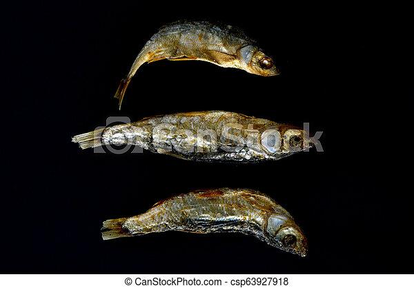 dry fish Alburnus belvica , famous tzironka from Prespa, Macedonia - csp63927918