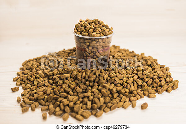 Dry pet nutrition with a measuring - csp46279734