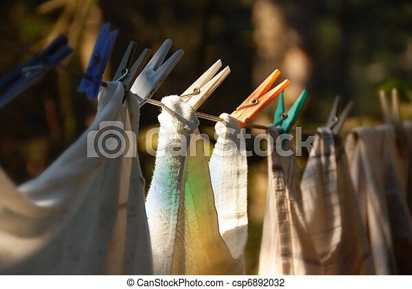 Drying laundry line - csp6892032