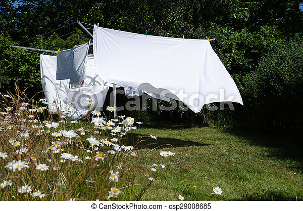 Drying white sheets - csp29008685
