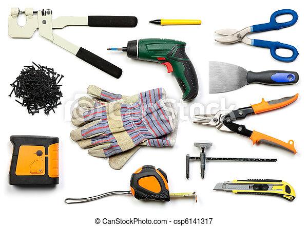 drywall, 道具, 隔離された - csp6141317