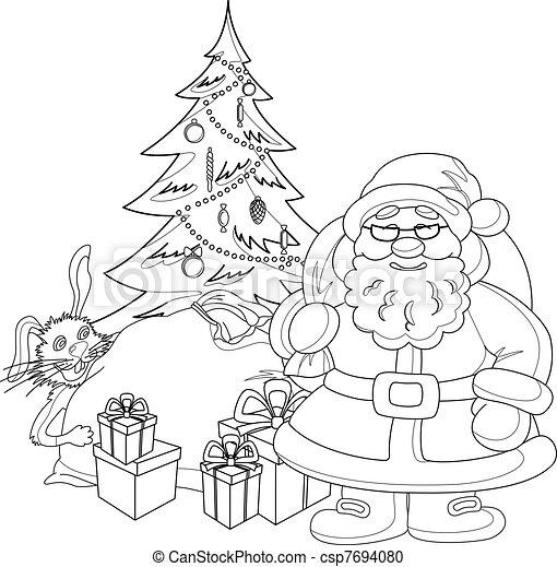Drzewo Claus Kontury święty Boże Narodzenie Contours Rysunek