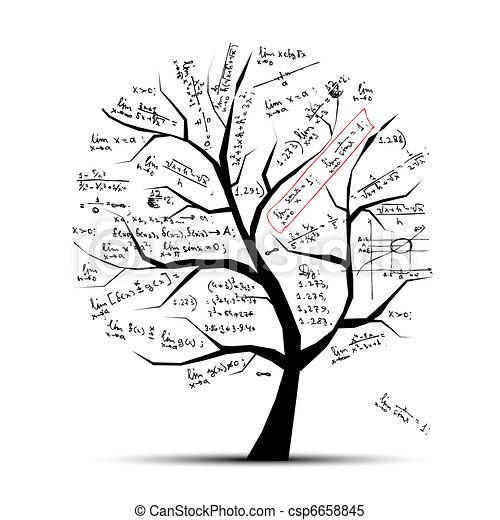 drzewo, projektować, twój, matematyka - csp6658845