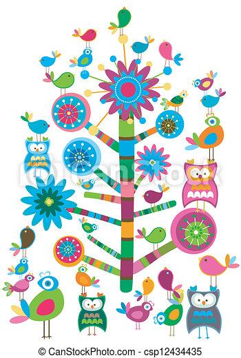 drzewo, ptaszki - csp12434435