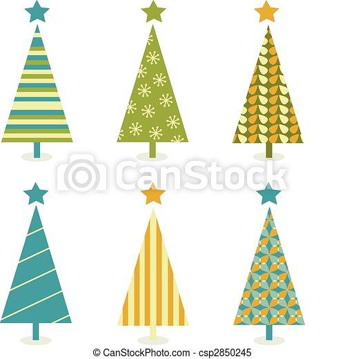 drzewo, tchórzliwy, projektować, retro, boże narodzenie - csp2850245