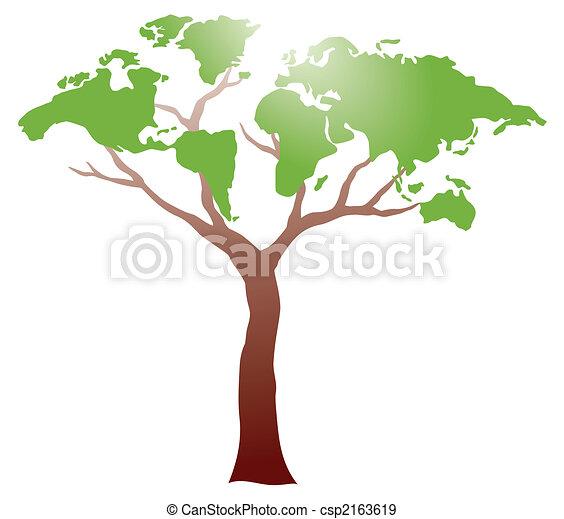 drzewo, worldmap - csp2163619
