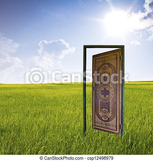 drzwi, world., nowy - csp12498979