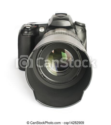 DSLR camera white isolated - csp14282909