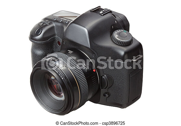 dslr, modern, freigestellt, fotoapperat, digital, weißes - csp3896725