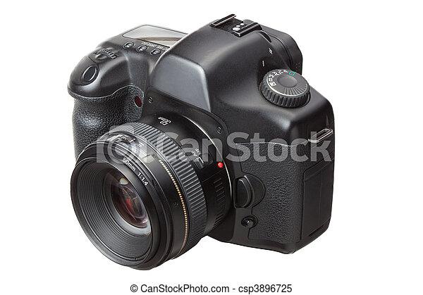 dslr, nowoczesny, odizolowany, aparat fotograficzny, cyfrowy, biały - csp3896725
