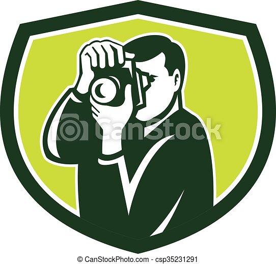 dslr, photographe, appareil photo, retro, tir, crête - csp35231291