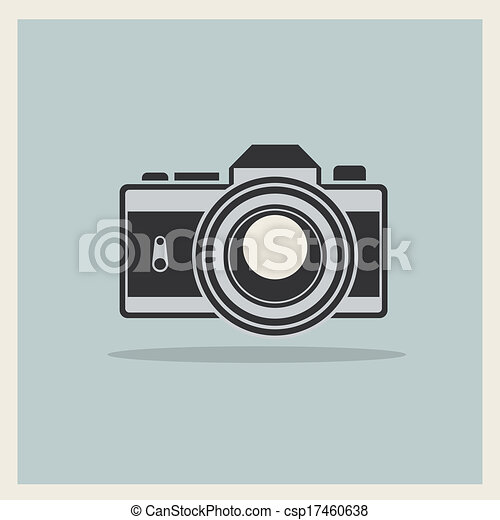 DSLR Professional Camera Icon On Retro Vintage Background - csp17460638