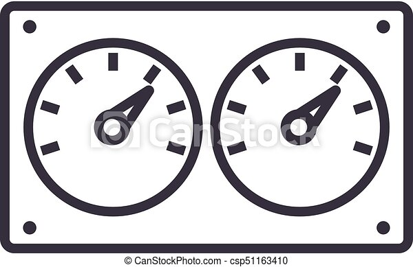 Dual control meter vector line icon, sign, illustration on ...