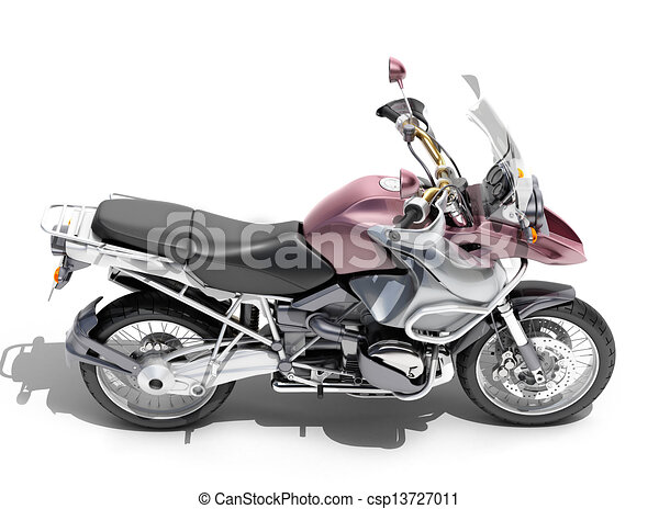 Dual-sports motorcycle close-up - csp13727011