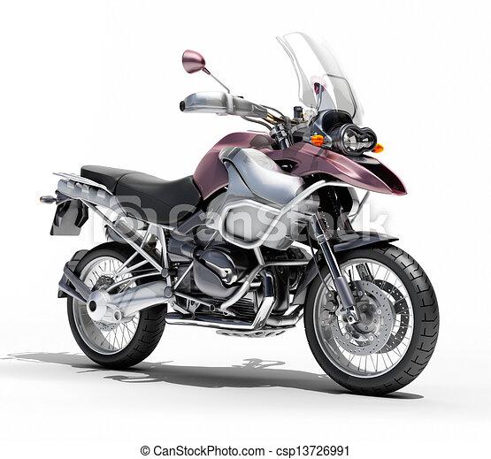 Dual-sports motorcycle close-up - csp13726991