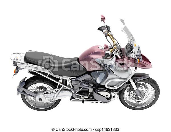 Dual-sports motorcycle close-up - csp14631383