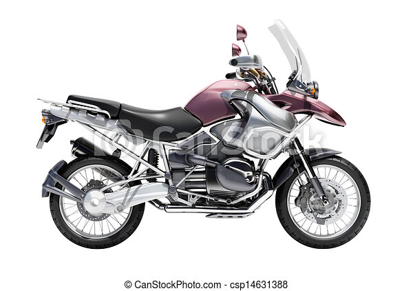 Dual-sports motorcycle close-up - csp14631388