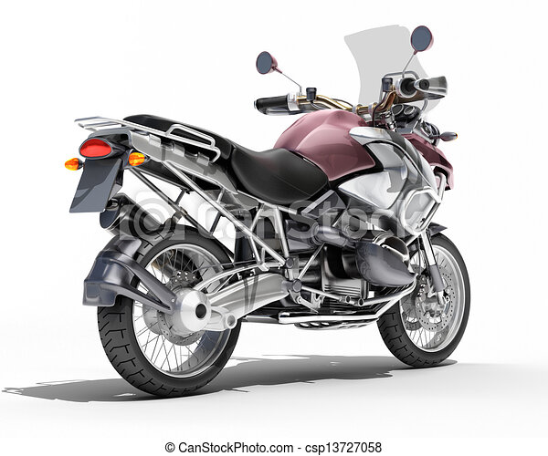 Dual-sports motorcycle close-up - csp13727058