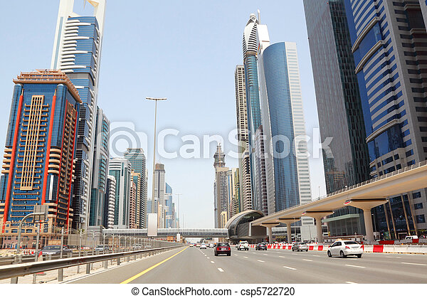 DUBAI - APRIL 18: general view on trunk road and skyscrapers on April 18, 2010 in Dubai, UAE. Dubai is the most fast-growing city on the Earth. - csp5722720