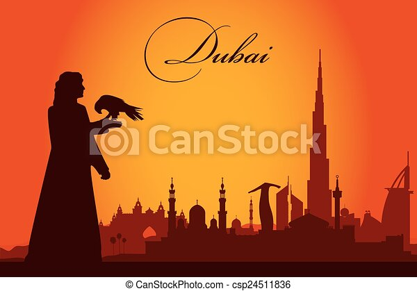 Dubai city skyline silhouette background - csp24511836