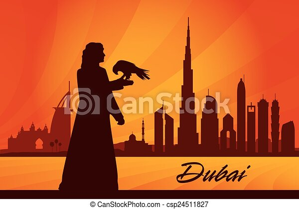 Dubai city skyline silhouette background - csp24511827