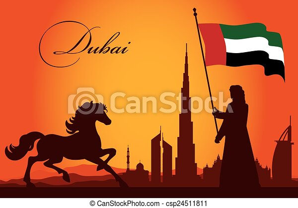 Dubai city skyline silhouette background - csp24511811