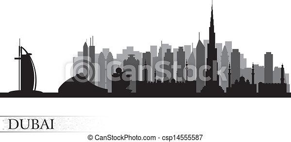 Dubai city skyline silhouette       - csp14555587