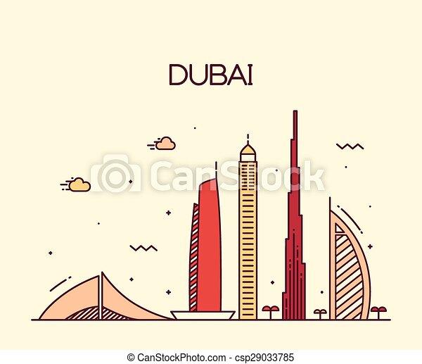 Dubai City skyline Trendy vector line art - csp29033785
