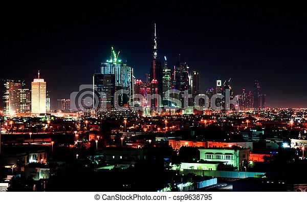 Dubai downtown night scene - csp9638795