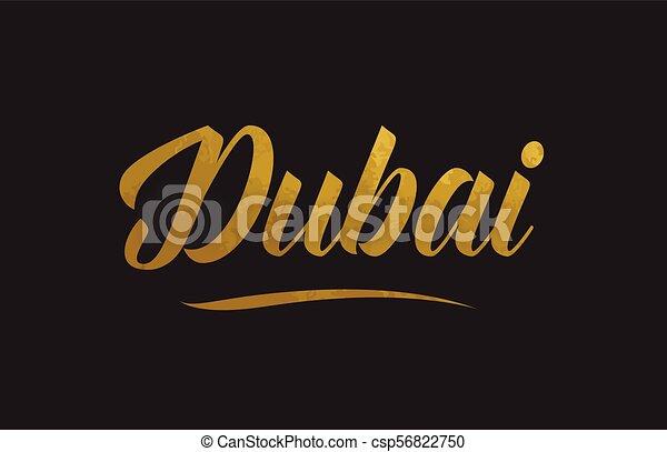 Dubai gold word text illustration typography - csp56822750