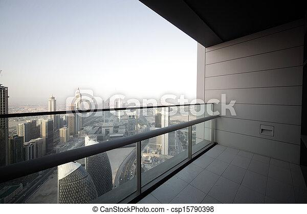 dubai, gratte-ciel, balcon - csp15790398
