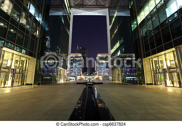 Dubai International Financial Centre (DIFC) at night, United Arab Emirates - csp6637824