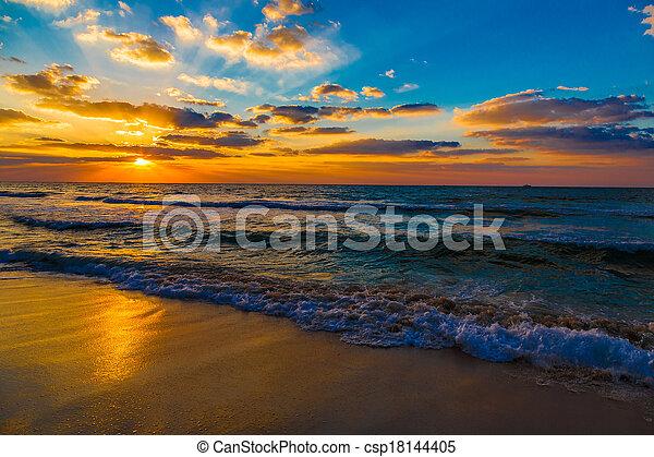 Dubai sea and beach, beautiful sunset at the beach - csp18144405