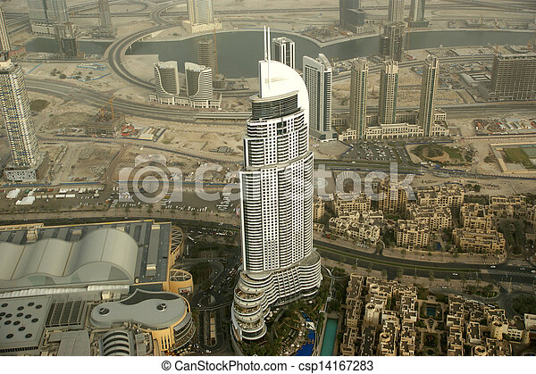 Dubai, UAE  Aerial view from the height of Burj Khalifa