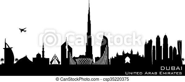 Dubai UAE city skyline vector silhouette - csp35220375