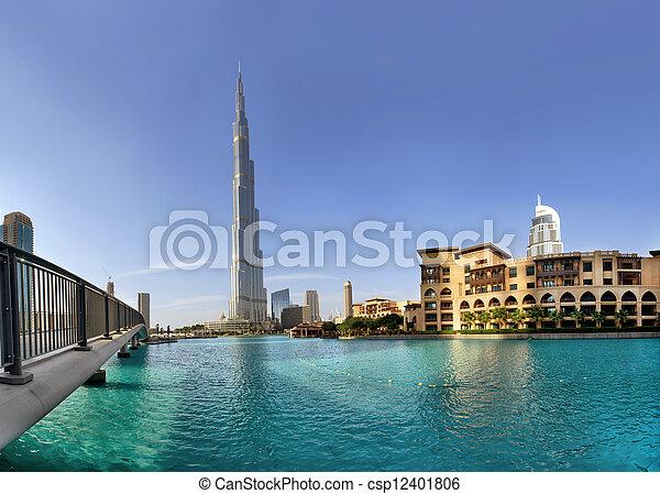 DUBAI, UAE - OCTOBER 23: Burj khalifa, the highest building in the world, Downtown on october 23, 2012 in Dubai, UAE - csp12401806