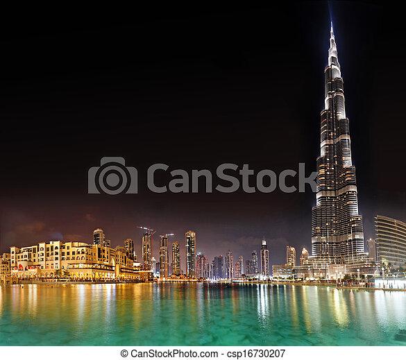 DUBAI, UAE - OCTOBER 23: Burj khalifa, the highest building in the world, Downtown on October 23, 2012 in Dubai, UAE - csp16730207