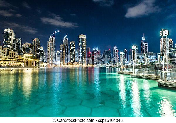 dubai, unidas, downtown., árabe, emirates, arquitetura, leste - csp15104848