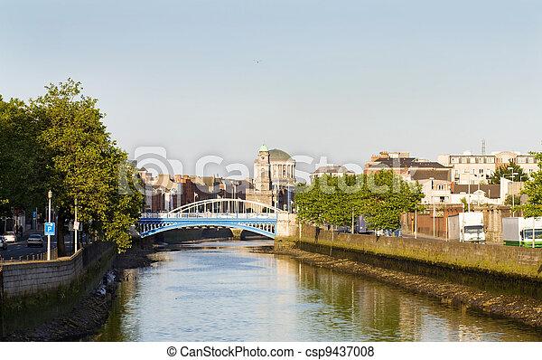 Dublin city at sunset - csp9437008