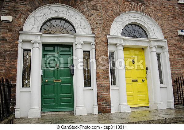 Dublin Georgian doors - csp3110311 & Dublin georgian doors. Green and yellow georgian dublin doors.