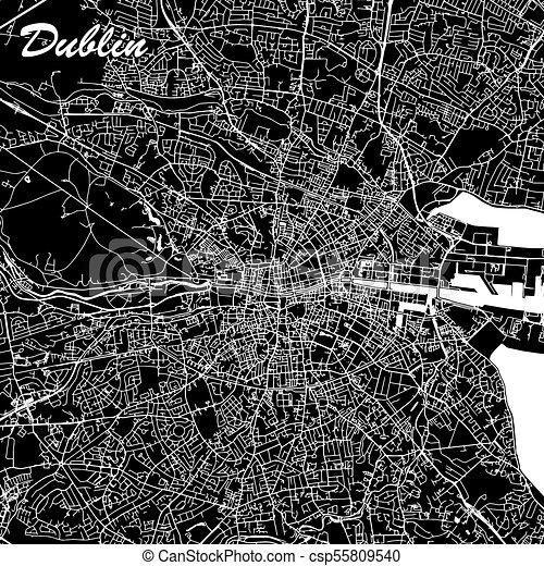Map Of Ireland Highways.Dublin Ireland City Map Black And White