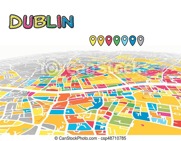 Map Of Ireland 3d.Dublin Ireland Downtown 3d Vector Map Of Famous Streets Bright