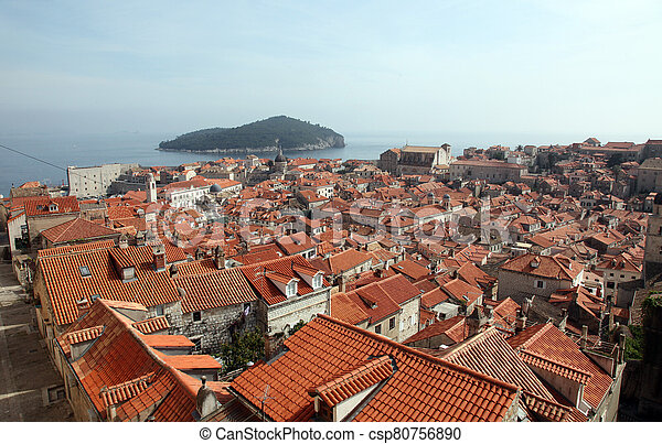 dubrovnik, croatia, 古い, 光景, 都市 - csp80756890