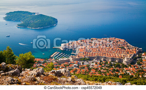 Dubrovnik medieval Old town and Lokrum island - csp45572049