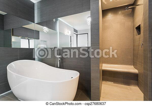Ducha, cuarto de baño, bañera. Cuarto de baño, residencia ...