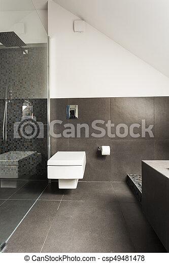 Ducha, cuarto de baño, moderno, transparente. Minimalista, cuarto de ...