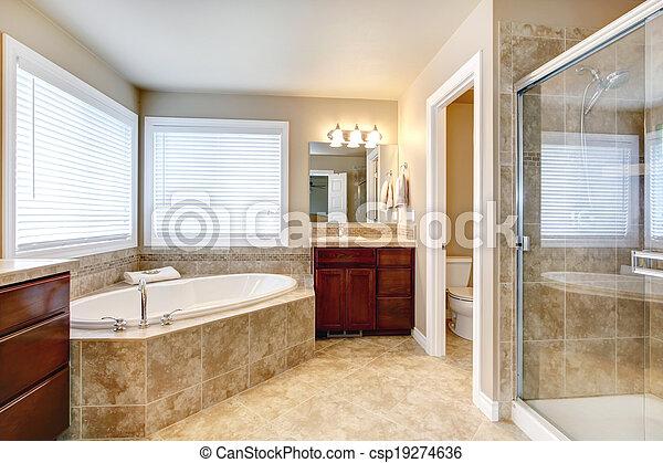 Ducha, cuarto de baño, moderno, tina, redondo. Cuarto de ...