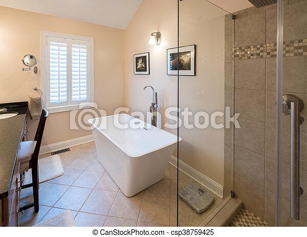 Ducha, cuarto de baño, moderno, tina, aislado. Cuarto de baño ...