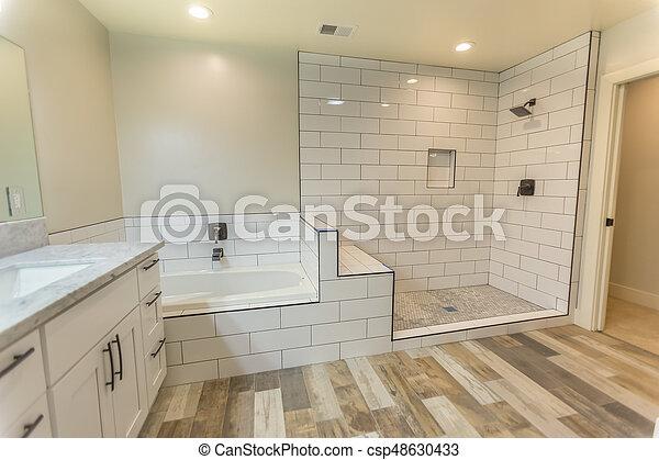 ducha, cuarto de baño, tina